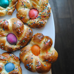 Italian Easter Bread with dyed Easter Eggs