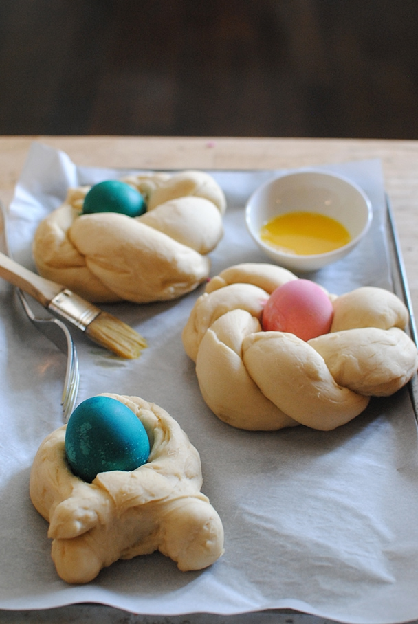 Italian Easter Bread on a baking sheet ready for the oven
