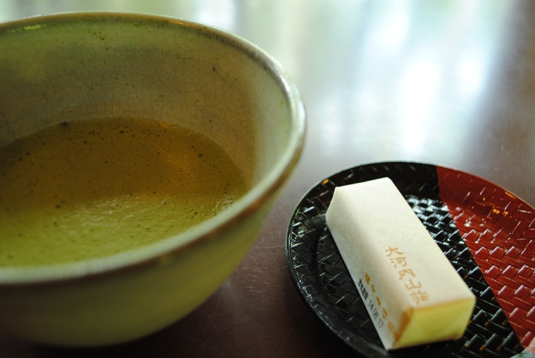 Matcha Tea and small tea cake for matcha tea ceremony