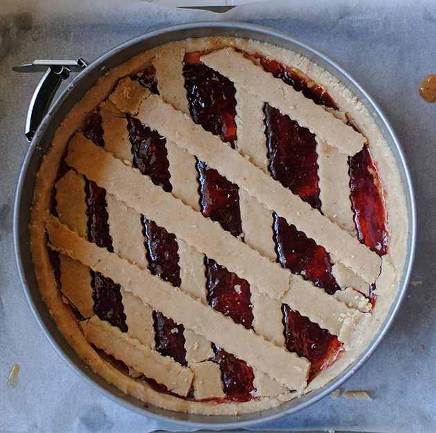 Peanut Butter and Jelly Linzer Torte | Let's Eat Cake