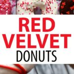 These baked red velvet donuts are light, fluffy, and super easy to make. They're they perfect Valentine's Day donuts! #redvelvet #donuts #bakeddonuts #baking #valentinesday #donut