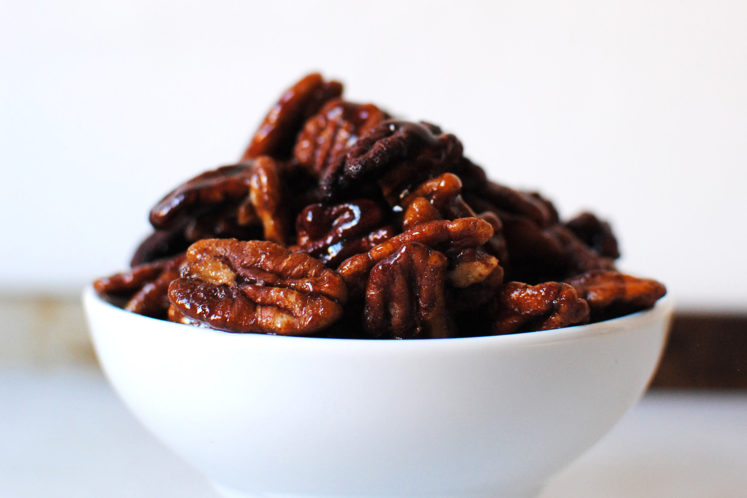 Maple Bourbon Candied Pecans