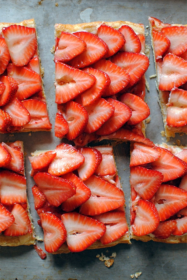 Easy Puff Pastry Strawberry Tart slices on baking sheet
