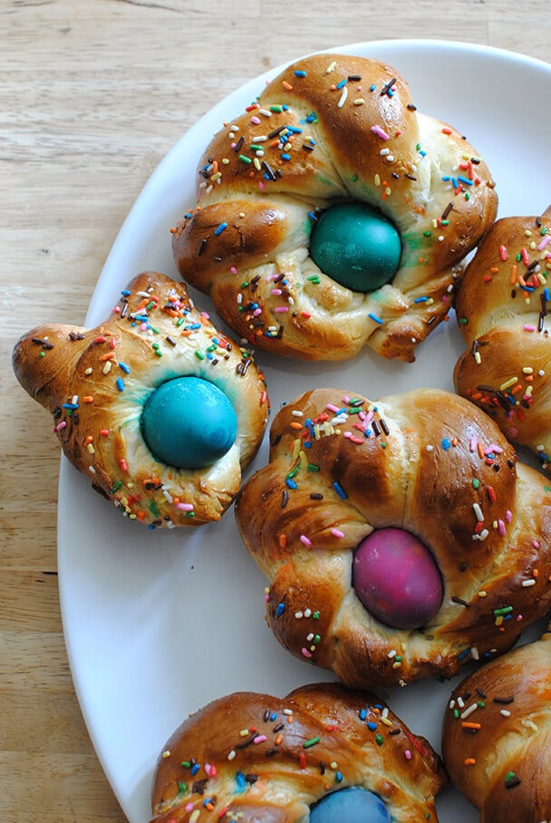 Italian Easter Bread with Dyed Easter Eggs and Sprinkles