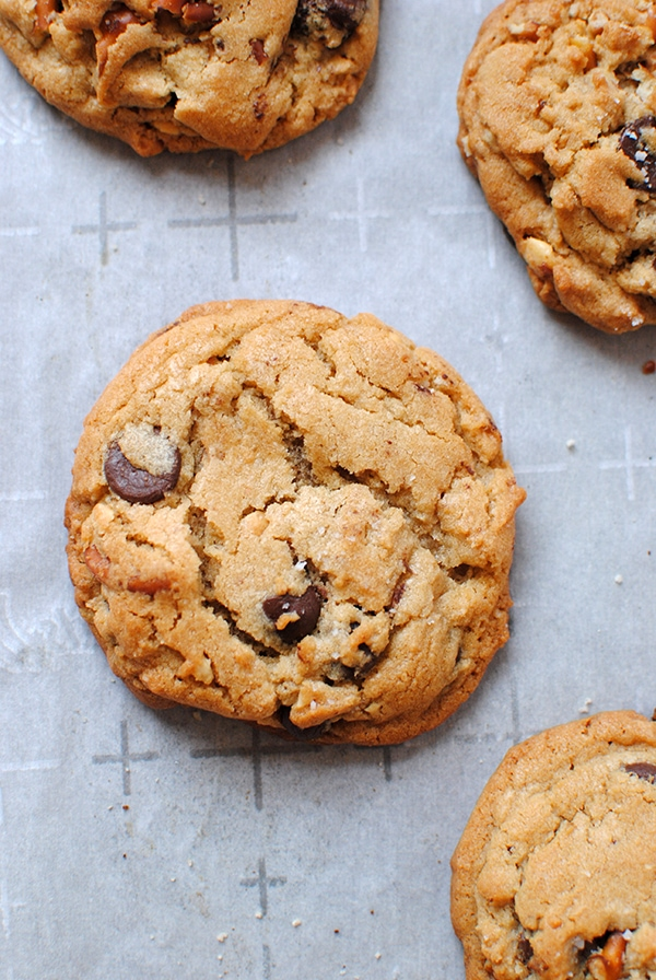 Chewy Peanut Butter Chocolate Chip Cookies on Baking Sheet
