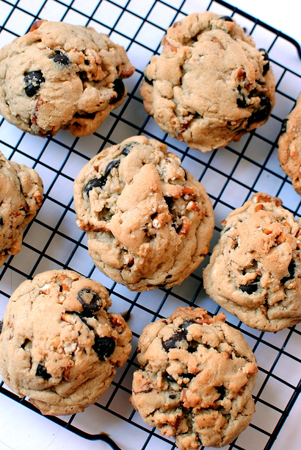 Chewy Peanut Butter Chocolate Chip Cookies on Cooling Rack
