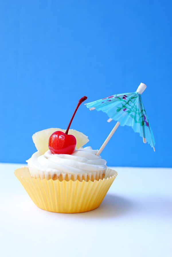 Piña Colada Cupcakes with Maraschino Cherry