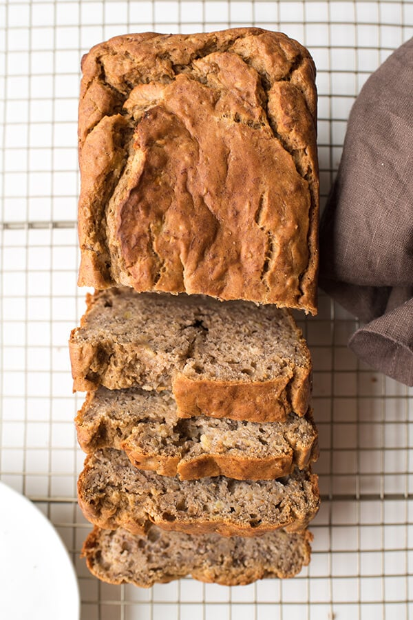 Healthy Banana Bread on a cooling rack