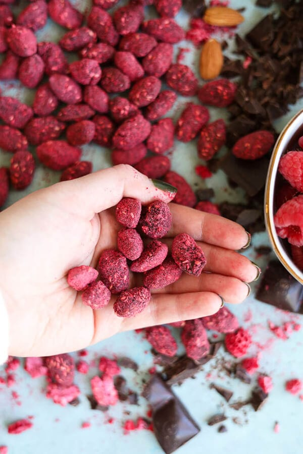 Raspberry Dark Chocolate Almonds