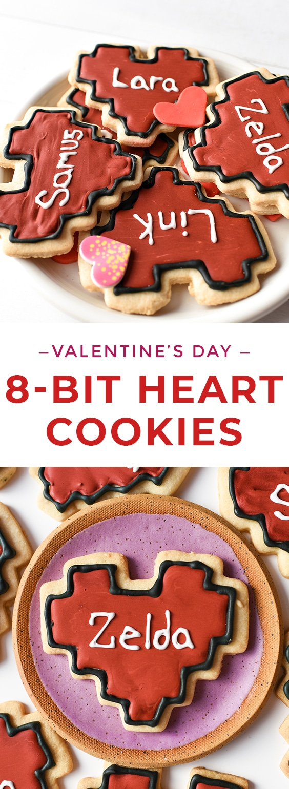 These retro-inspired 8-bit heart shaped valentine cookies are sure to be a hit with anyone who loves video games or cookies! They're easy to make using a 8-bit cookie cutter! #valentine #videogame #videogames #valentinecookies #8bitcookies #cookies #baking #letseatcake #cookies #valentinecookies #videogames #videogamecookies #royalicingcookies #royalicing #valentinesday #geekcookies #zeldacookies #zleda #bakeddonuts #retrocookies #nintendo #kidfriendly #kidfriendlyrecipes #bakingrecipes #geek