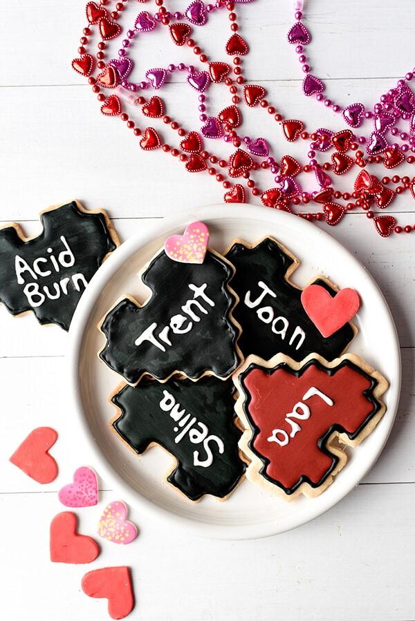 Heart-Shaped 8-Bit Valentine Cookies - Lara, Selina Kyle, Joan Jett, Trent Reznor