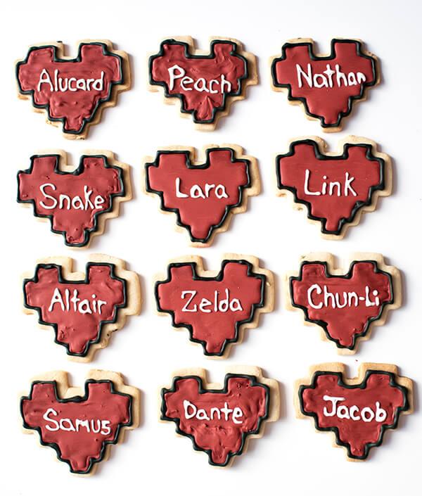 Heart-Shaped 8-Bit Valentine Cookies - Zelda, Snake, Link, Chun Li, Nathan, Peach, Samus, Dante, Alucard