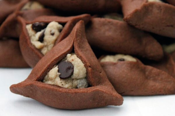 Chocolate Chip Cookie Dough Hamantaschen by With Love and Cupcakes