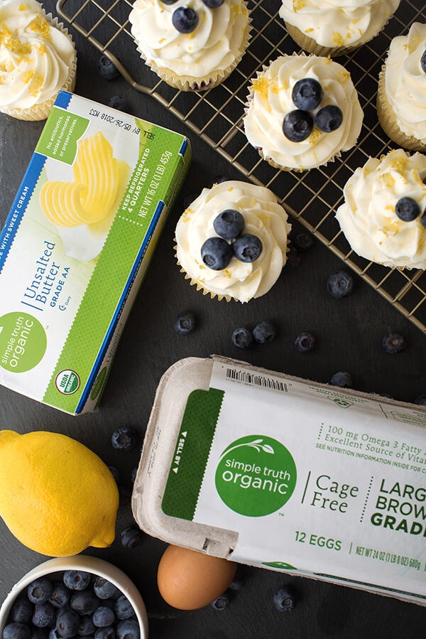 Lemon Blueberry Cupcakes with Simple Truth butter and eggs
