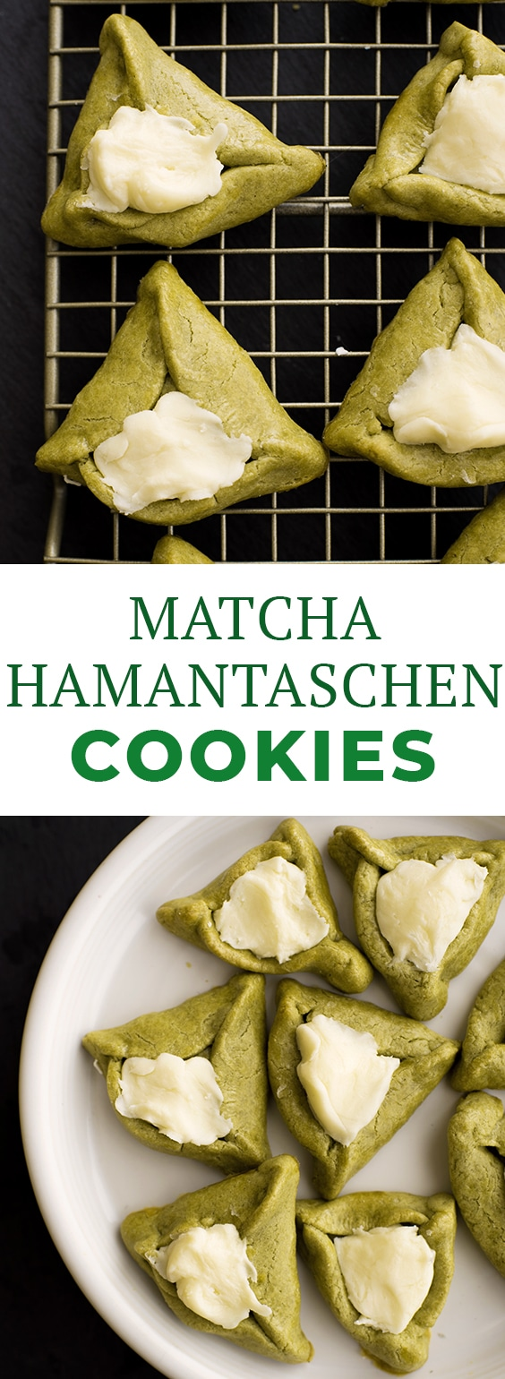 Matcha Hamantaschen Cookies filled with white chocolate filling. These triangle cookies are perfect Purim food and one of the best Hamantaschen cookie recipes you'll find! Leave out the matcha if you want a more traditional Purim recipe. #hamantaschen #purim #matcha #cookie #cookies #cookierecipes #cookielove #cookiesrecipes #holidaytime #desserts #dessertrecipes #dessertlover #holiday #letseatcake #allrecipes #buzzfeedfood #purimideas