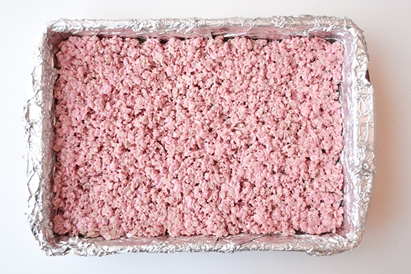 Peeps Rice Krispie Treats: Press the blue layer into the prepared on top of blue layer