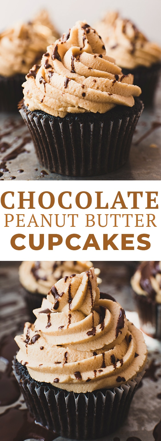 These chocolate peanut butter cupcakes have a rich, fudgy chocolate cake and are topped with a creamy peanut butter frosting. If you love peanut butter chocolate recipes, you'll love this easy chocolate cupcake recipe! #letseatcake #cupcakes #chocolatepeanutbuttercupcakes #chocolatecupcakes #chocolatecake #peanutbuttercupcakes #peanutbutterfrosting #peanutbuttericing #peanutbutterrecipes #reeseschocolatecupcakes #cupcakerecipe #reesescupcakes #chocolaterecipes #cupcakerecipe #easycupcakes #cupcakeideas #sponsored #ralphs #kroger #peanutbutterchocolate #peanutbutterchocolaterecipes #bakingrecipes