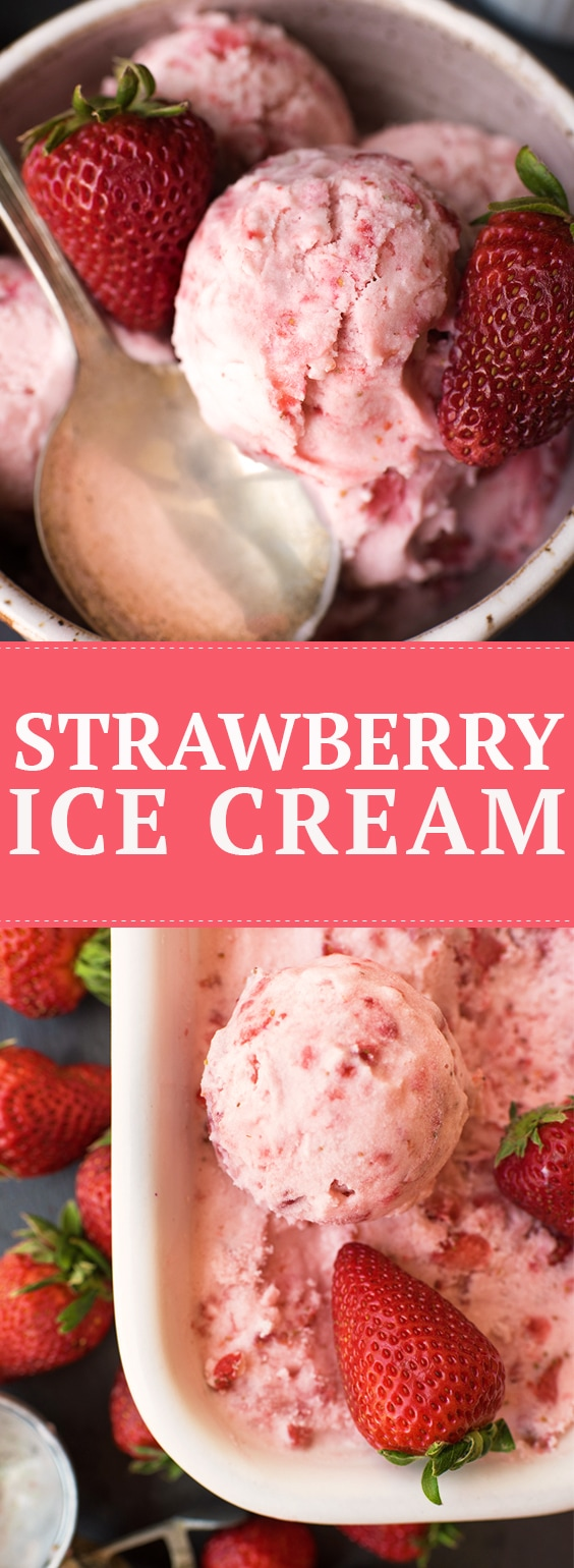 This homemade strawberry ice cream is bursting with fresh strawberries, making it a perfect summer dessert! No doubt you'll think it's the best strawberry ice cream recipe ever! #strawberries #strawberry #strawberryicecream #recipes #icecreamrecipes #icecream #easyrecipes #summerrecipes #summerdessert #dessertrecipes #recipes #desserts #summertime
