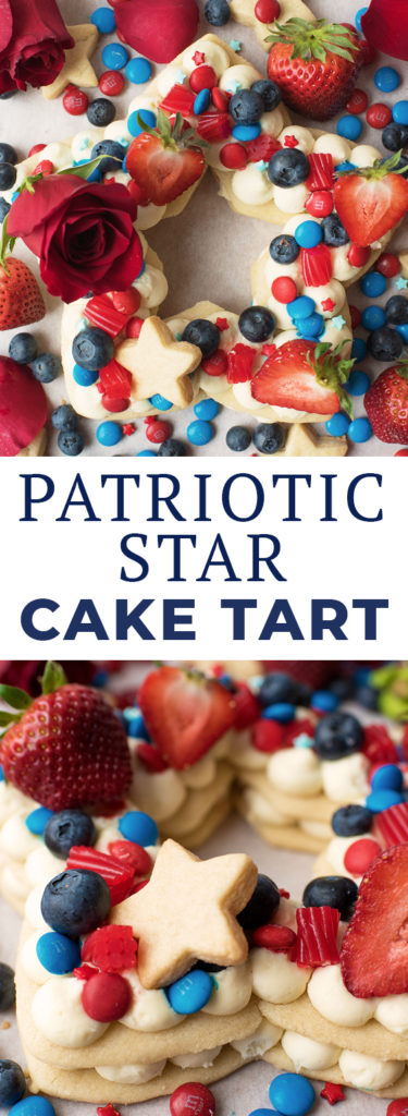 Star Shaped Cream Tart Cake in Red White and Blue