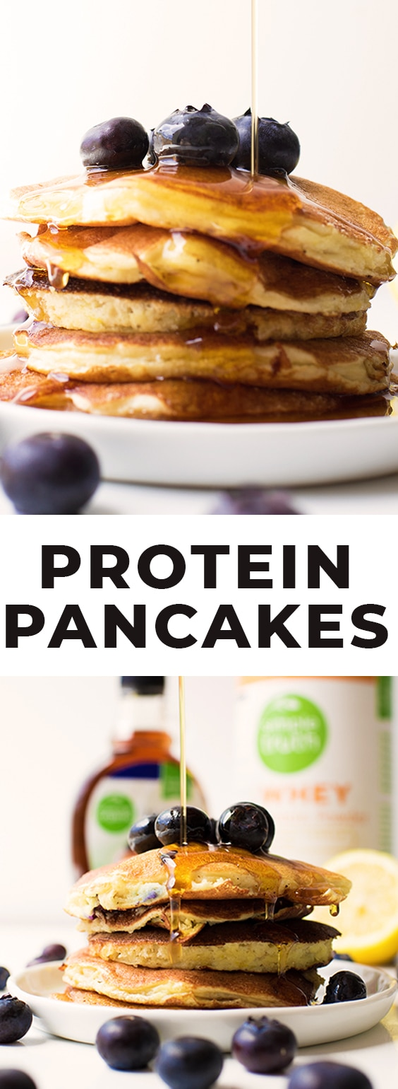 protein pancakes on a white plate