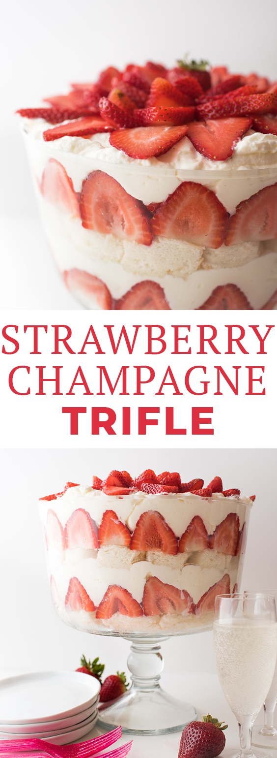This Strawberry Champagne Trifle dessert features layers of angel food cake, champagne mascarpone whipped cream, and fresh strawberries! It's also a great dessert for New Year's Eve! #strawberrytrifle #trifle #triflerecipe #dessert #trifledessert #summerdessert #dessertideas #desserts #letseatcake #trifles #strawberry #strawberrydesserts #strawberryrecipes #dessertrecipes #greatbritishbakeoff #strawberriesandchampagne #champagne #newyearsdessert #ralphs #lovemyralphs #sponsored