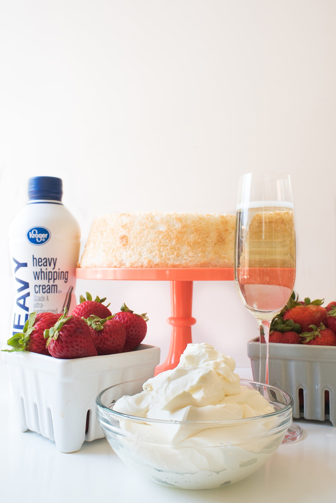 Strawberry Trifle - pound cake with champagne, strawberries,and heavy cream