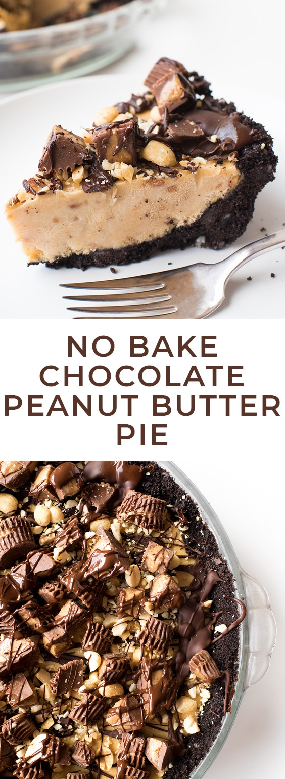 This No Bake Peanut Butter Pie combines two of the best things ever: Peanut butter and chocolate. It has a chocolate cookie crust and a rich, peanut butter filling! #peanutbutter #nobake #nobakerecipes #letseatcake #peanutbutterpie #nobakepie #pie #peanutbutterchocolate #chocolatepeanutbutter #sponsored #lovemyralphs #ralphs
