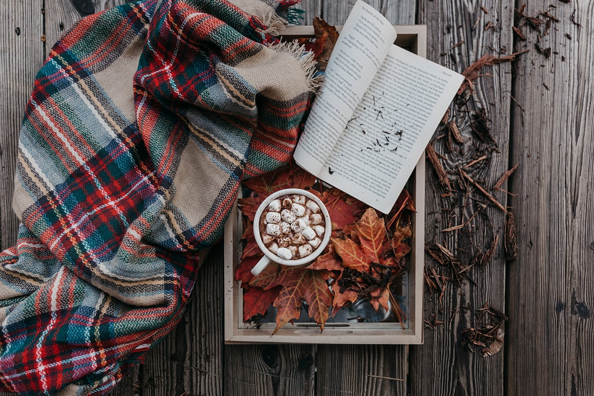 Fall Hashtags - book, blanket, and leaves