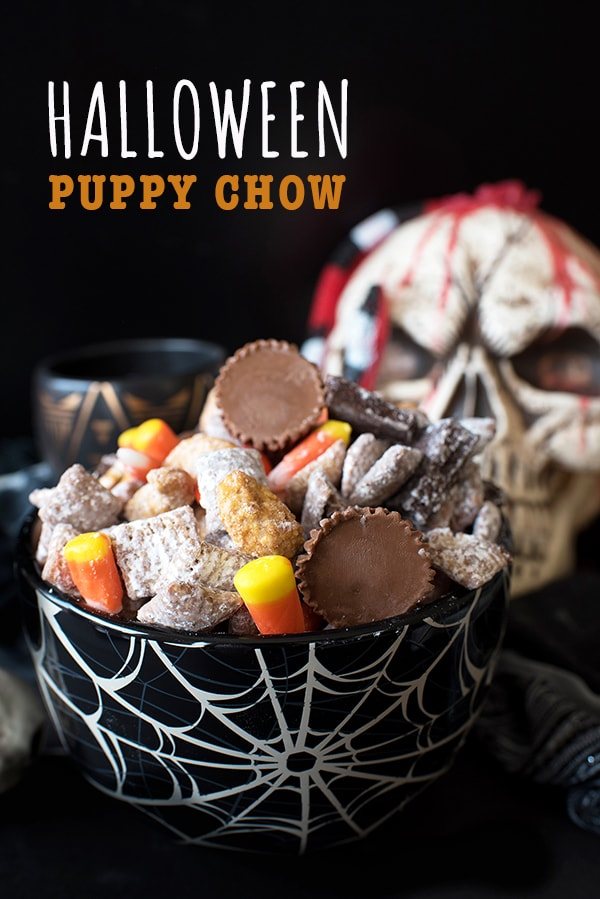 Chocolate, peanut butter, and all your favorite Halloween candies combine to create this spooky Halloween Puppy Chow! #lovemyralphs #ralphs #sponsored #halloween #halloweenpuppychow #puppychow #muddybuddies #easyrecipes #halloweenideas #baking #simplerecipes