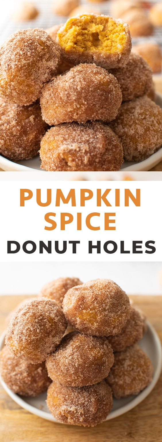 For an easy fall recipes, make these baked Pumpkin Donut Holes rolled in Cinnamon Sugar. They're ready in less than an hour, and you don't even need a donut pan to make them! #donuts #donut #pumpkin #pumpkindonuts #falldonuts #fall #easydonuts #donutrecipe #bakeddonuts #fallideas #fallrecipes