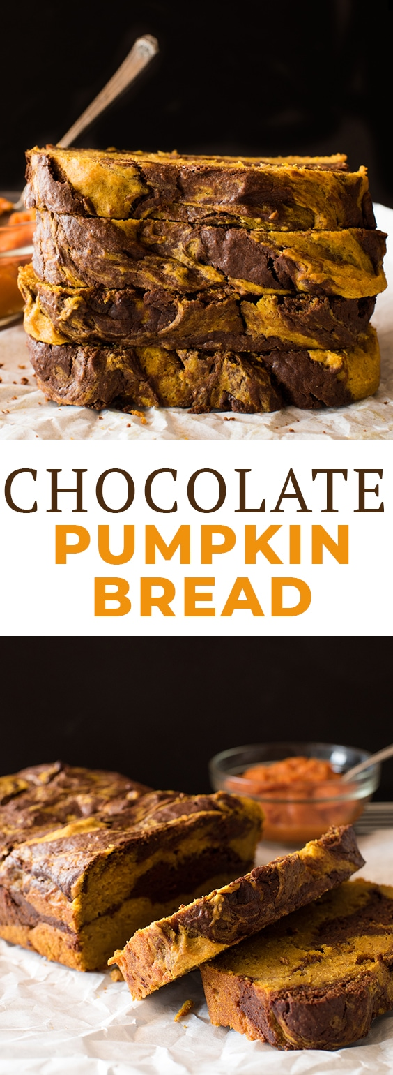 This Chocolate Pumpkin Bread recipe combines the flavors of pumpkin spice and swirls of rich chocolate to create a moist, easy, quick bread. If you're looking for the perfect fall loaf, this is it! #letseatcake #bread #pumpkinbread #chocolatepumpkinbread #quickbread #easybread #breadrecipes #quickrecipes #recipes #thanksgiving #fall #fallrecipes #thanksgivingrecipes #lovemyralphs #sponsored #kroger