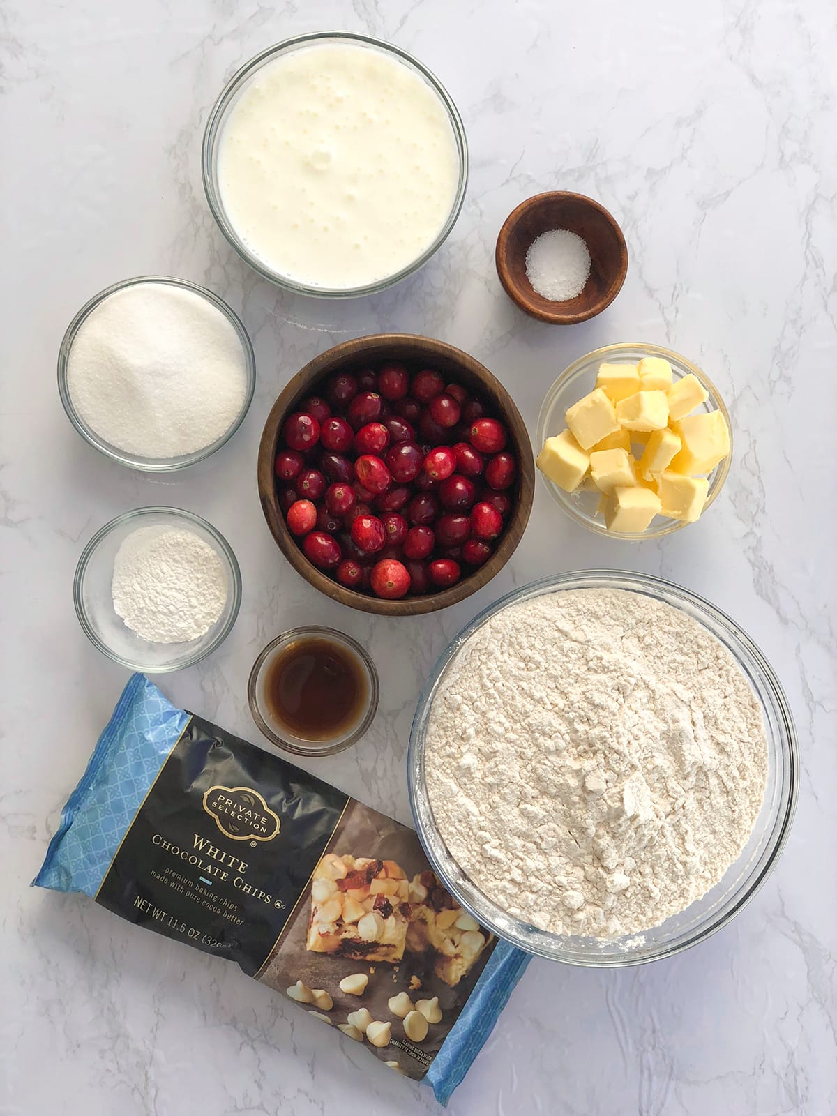 Cranberry White Chocolate Scone Ingredients