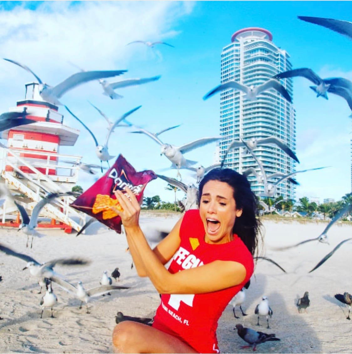 Liz Plank Engagement Shoot with a Bag of Doritos - seagulls attacking