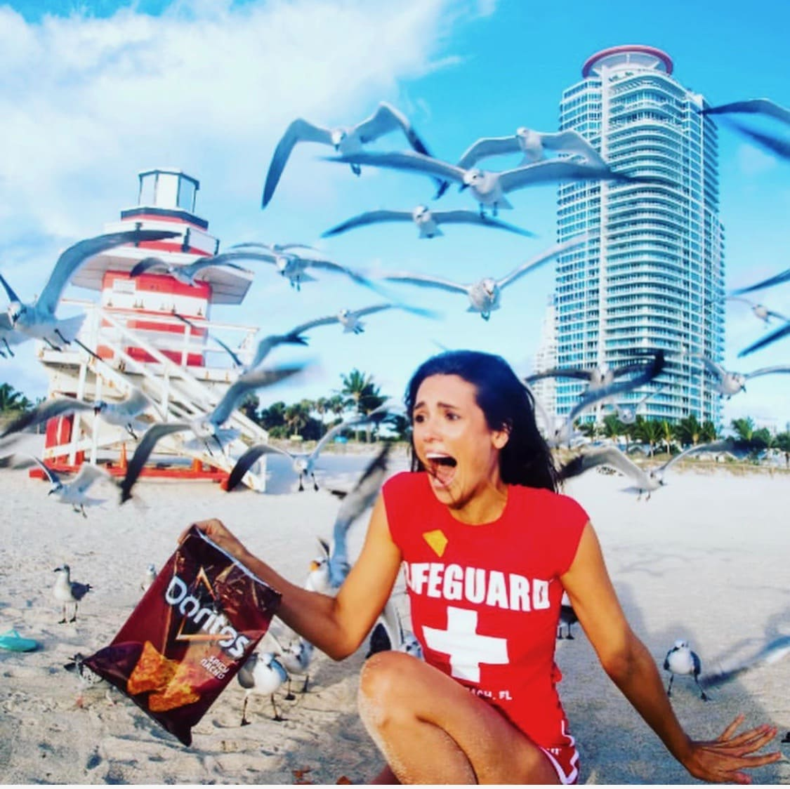 Liz Plank Engagement Shoot with a Bag of Doritos - seagulls attacking her screaming