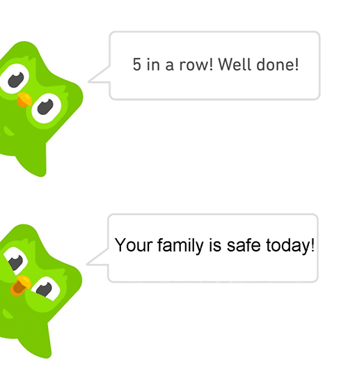 Duolingo Memes - family is safe today