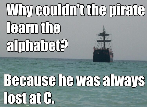 Beach Puns - Pirate ship lost at sea
