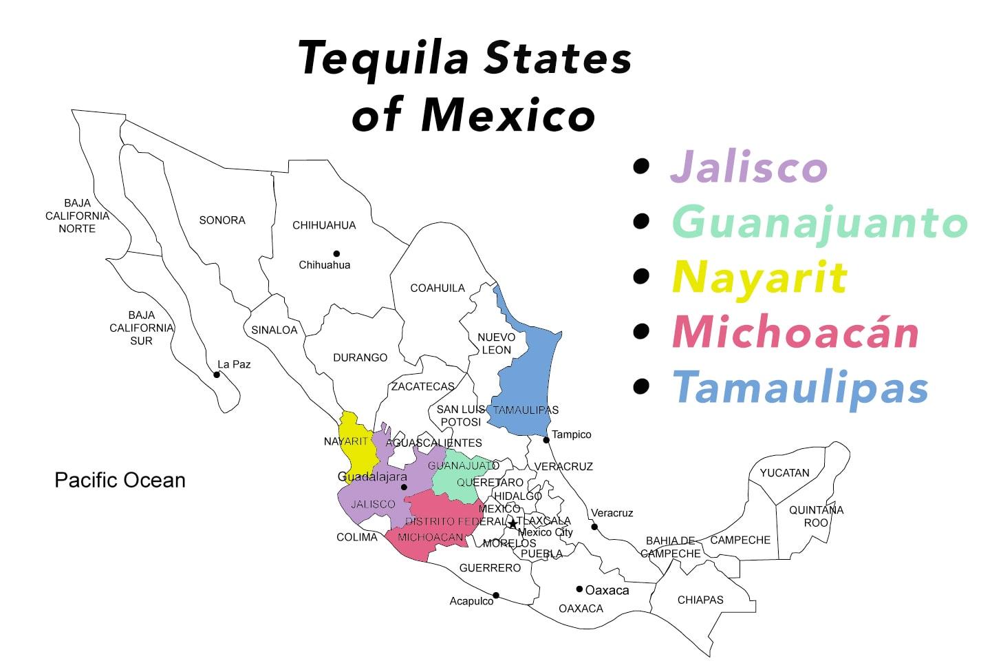 Estados tequileros de México: Jalisco, Guanajuato, Nayarit, Michoacán, y Tamaulipas