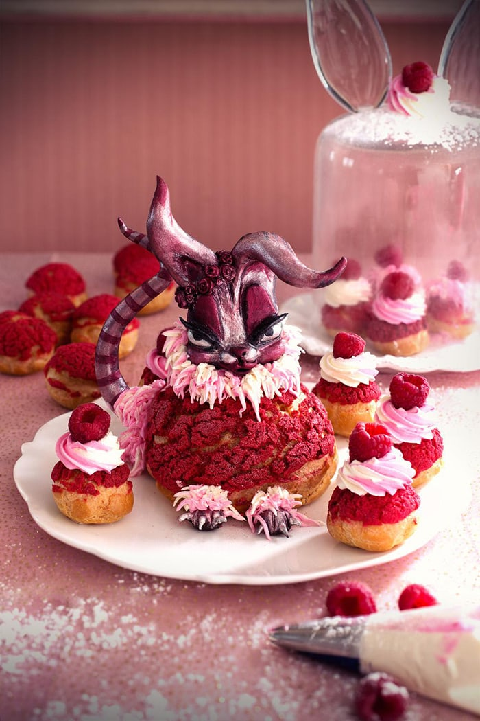La Chateleine Creepy Halloween Cakes and Desserts - Raspbunny Cream Puffs