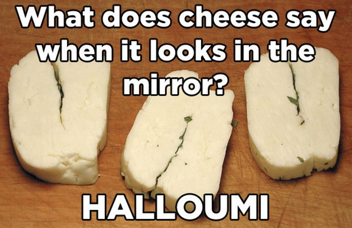 cheese puns - halloumi