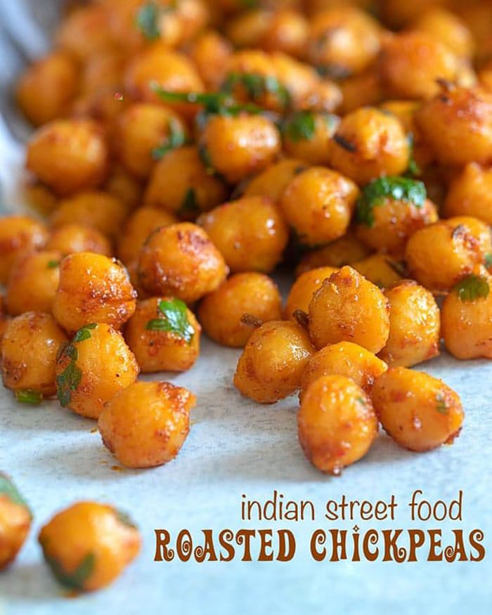 low carb movie snacks - roasted chickpeas