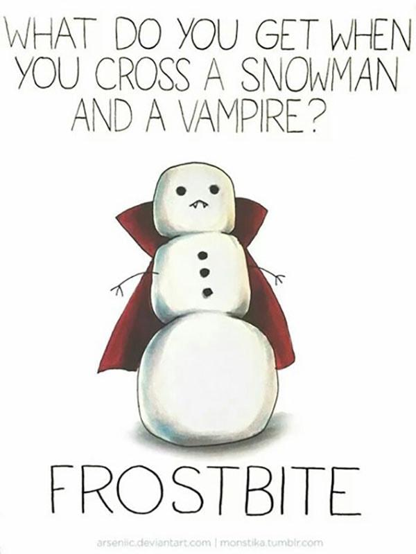 Vampire Puns - Frostbite Snowman