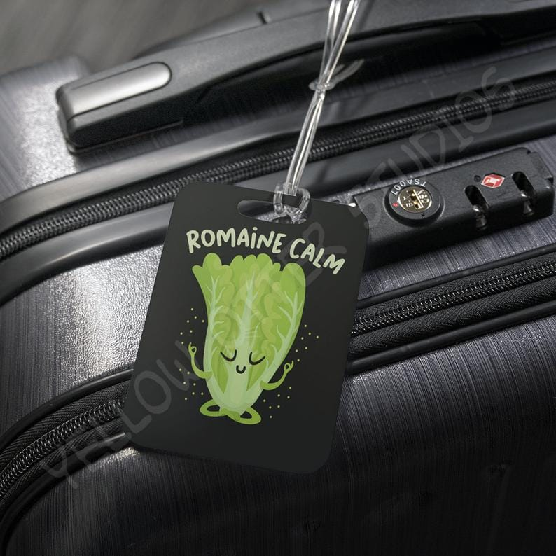 funny luggage tags - romaine calm