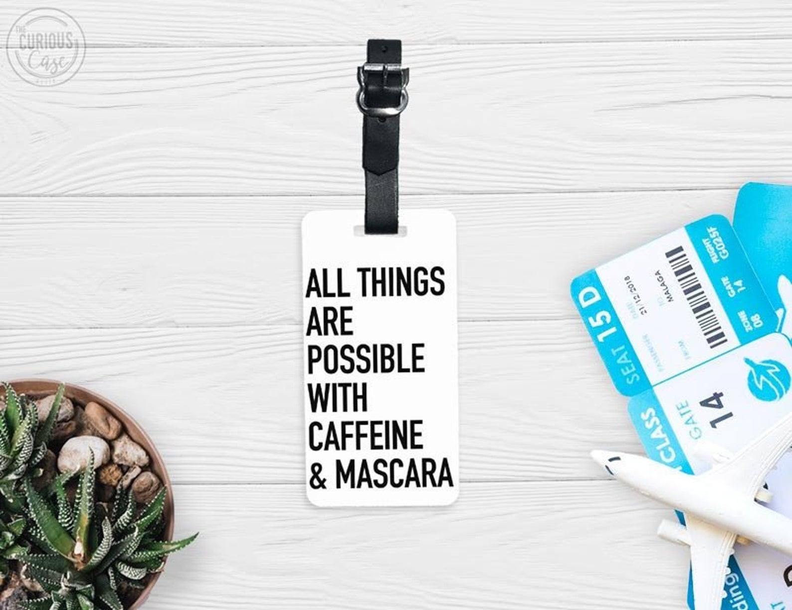 funny luggage tags - all things possible coffee mascara