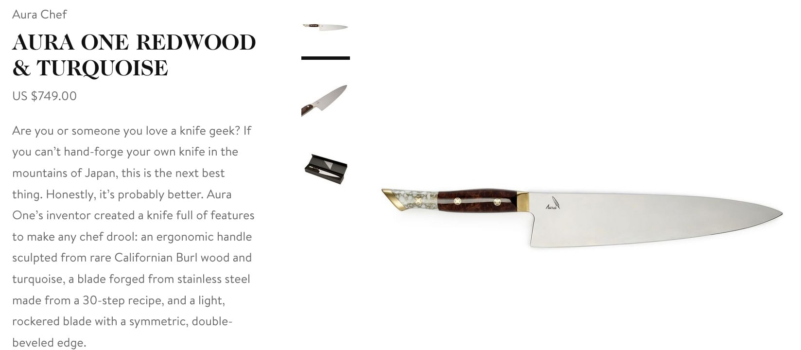 Goop Gift Guide - Aura One Redwood Chefs Knife