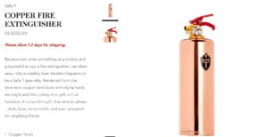 Goop Gift Guide Holiday 2019 - Rose Gold Copper Fire Extinguisher