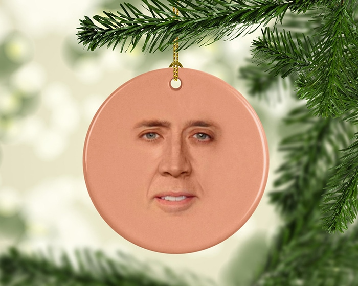 Tacky Christmas Party Ideas - Nicholas Cage Face Ornament