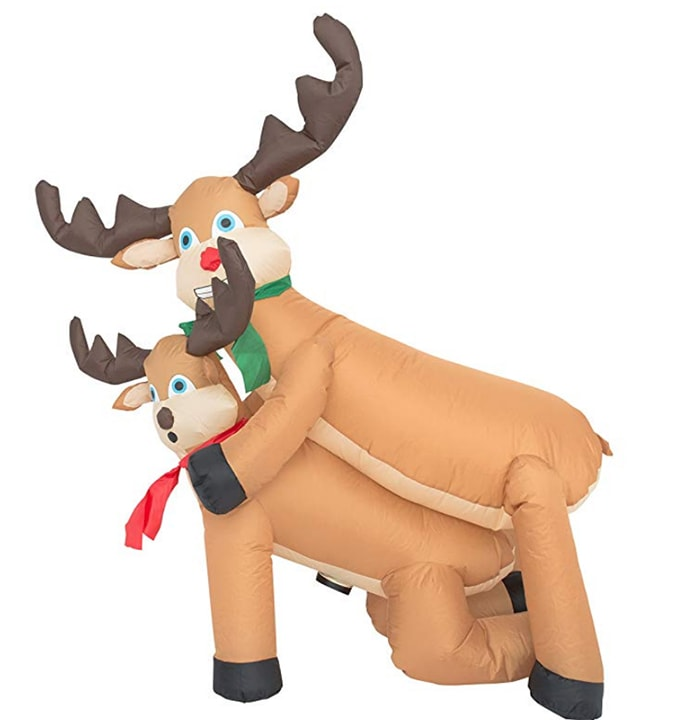 Tacky Christmas Party Ideas - Inflatable Lawn Reindeer Ornaments