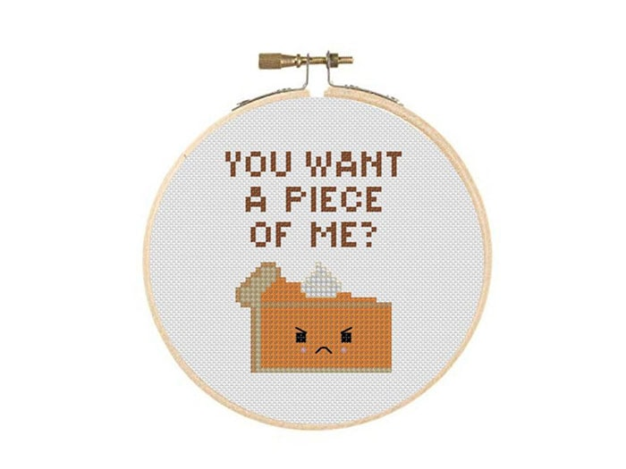 Thanksgiving Puns - you want a piece of me cross stitch