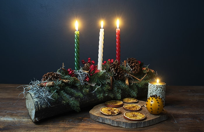 Yule Log with Candles