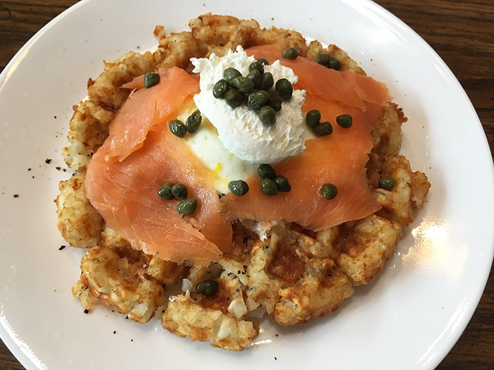 Tater Tot Waffles with Salmon and Capers
